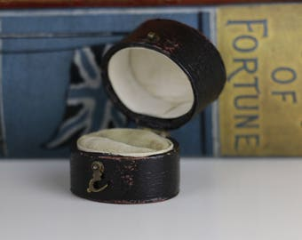 Antique Ring Box Engagement or Wedding Ring Box - Black with Cream Interior