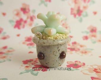 Kawaii succulent polymer clay miniature charm