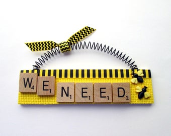 Bees We Need Bees Scrabble Tile Ornament