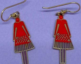 "Vintage Laurel Burch  discontinued, rare  dangle earrings ""femme"""