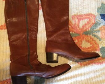 1970's Cognac Leather Knee High Boots Size 12!!