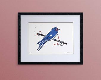 "Swallow linocut print, hand printed 8x10"" bird art print, bird wall decor"