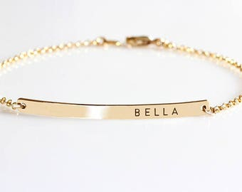 Personalized Bar Bracelet,  Custom Date Bracelet, Roman Numerals Custom Name Gold bar Bracelet Nameplate, Monogram Bracelet, Bridesmaid gift
