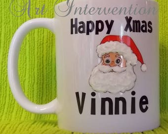 Personalised 3D Santa mug - 3D beard, mustache, and fur - Childrens Xmas mug