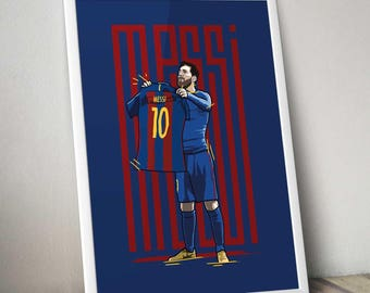 Lionel Messi - Holding Shirt Celebration Print