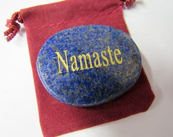 Namaste Stone, Carved Word, Yoga, Chakra, Reiki, Meditation, Metaphysical, Healing, Use for Jewelry, Healing, Meditation