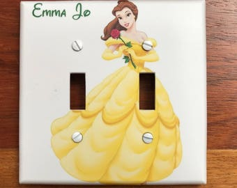 Beauty and the Beast light switch plate Belle yellow cover // Personalized light switch // SAME DAY SHIPPING**!!