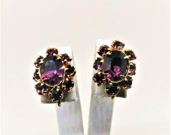 Purple Earrings - Vintage, Gold Tone, Purple Rhinestones, Screw Back