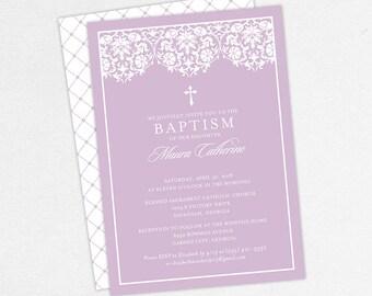 Girl Baptism Invitation, Christening Invitation, Printable Baptism Invitation, PDF Invite, DIY Invite, Lace, Floral, Damask, Purple, Maura