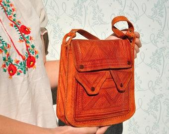 Tooled leather purse, vintage tooled leather bag, African leather bag, tooled leather shoulder bag, womens bag, vintage bag women