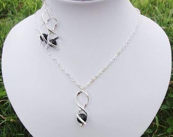 Set jewelry wedding necklace 925 sterling silver + black Twist bridal wedding party earrings