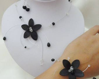 Set of jewelry set wedding bridal necklace bracelet black black silk flower + earrings