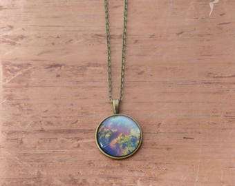 """Raw brass with photo """"Forest of seaweed"""" pendant / brass Metal style Pendant with algua photo"""