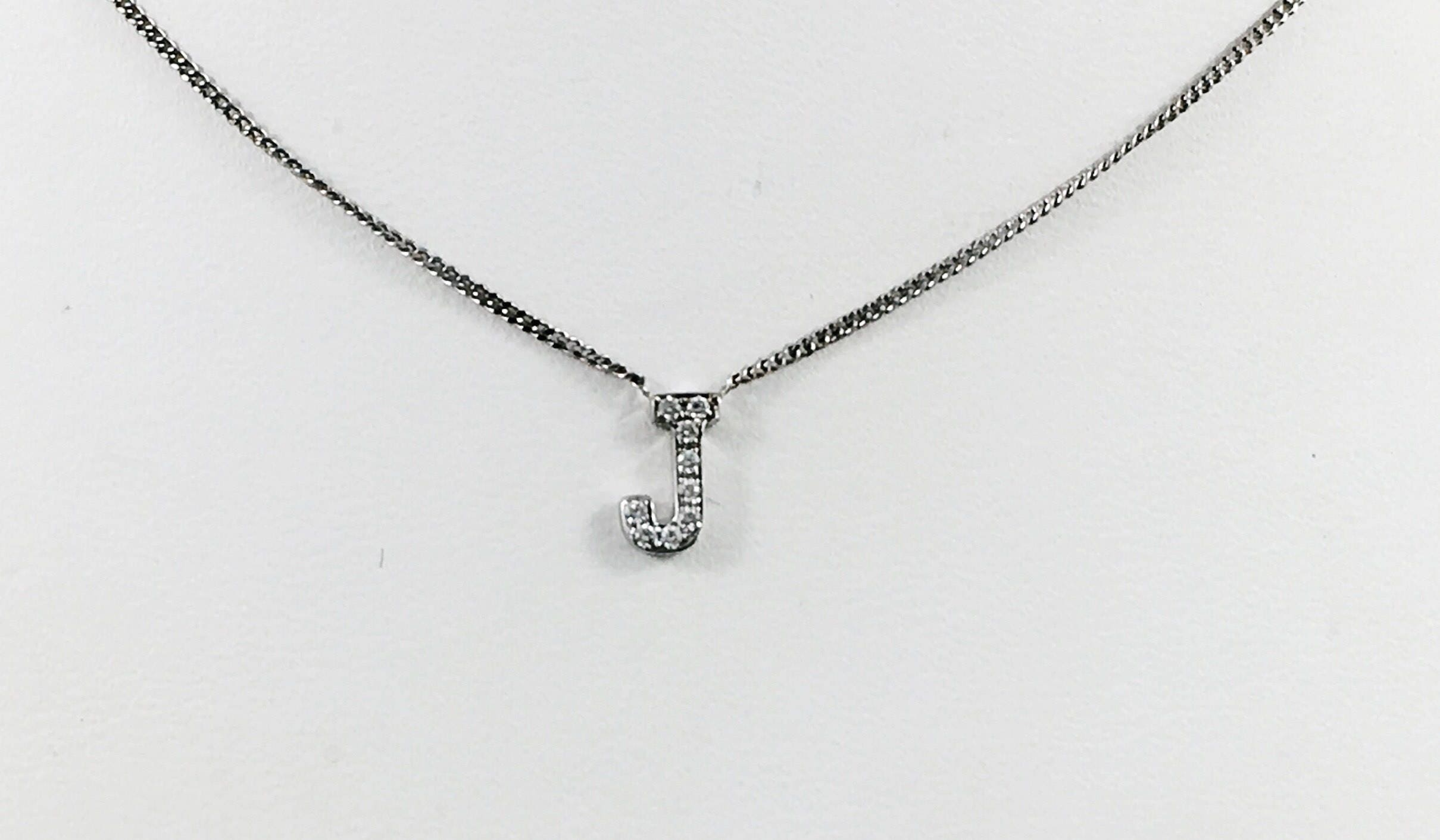 Tiny diamond initial necklace solid 10 karat white gold mozeypictures Image collections