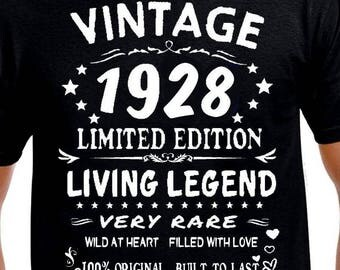 90th birthday Gift-T Shirt Funny-90th birthday Present-Age 90 Years Old-for Daddy-Born-1928-Vintage-for Grandpa-Grandma- Man-Turning-Husband