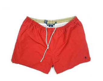 On Sale - Ralph Lauren Bathing Suit Shorts / Red Polo Sport Swim Trunks - Retro 1990s Hip Hop Throwback Streetwear - FREE SHIPPING