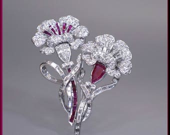 Antique Vintage Art Deco 1930's Platinum, Diamond and Ruby Flower Pin Brooch - P 505S
