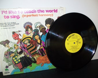 "vintage children's record album: ""I'd Like to Teach the World to Sing"" by the Peppermint Kandy Singers 