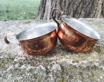Set of 2 coffee copper cups mugs