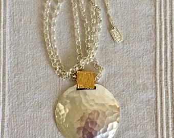 Karine Sultan Silver Tone Pendant Necklace French Designer