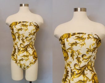1980s Pierre Cardin Swimsuit / 80s Bathing Suit / Glam Swimsuit