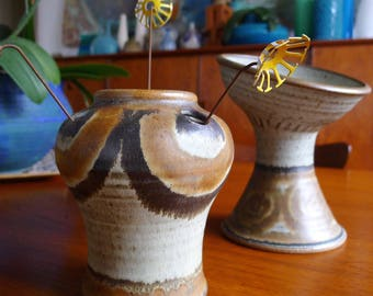 Pair of James Wishon and Jerry Harrell Stoneware Vases, Mid Century Modern Art Pottery