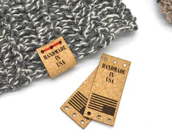 Cork labels 1x2.25  inches - made from Cork Fabric - Laser engraved ,Knitting labels, Personalized cork labels, Cork tags , Custom Labels