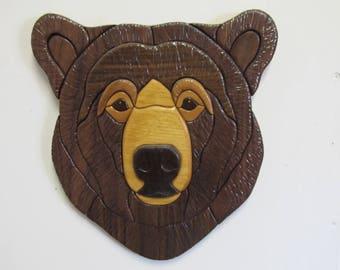 Intarsia Bear Face