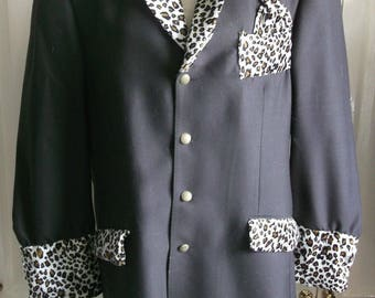 "funky Brown & leopard-print  XLarge44"" chest  3/4 TeddyBOy Drape Jackety.Bespoke"