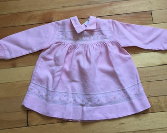 Vintage 1970s Baby Infant Girls Pink Knit Embroidered Duck Dress! Size 12 months