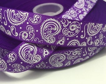 "3 yards 7/8"" Purple Fall Autumn Halloween glitter paisley grosgrain ribbon"