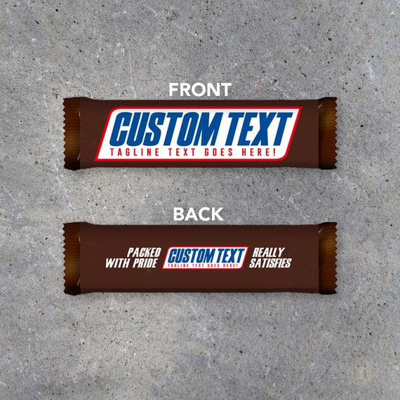 snickers custom text printable candy bar wrapper with your custom