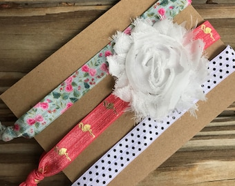 Baby Stretchy Headbands with Bow, Baby Headbands with Removable White Bow, Baby Hair Accessories, Baby Girl Gifts