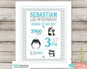 Birth Print Nursery Art - Baby Bedroom Art - Baby Bedroom Decor - Rustic Newborn Print - Personalised Art!