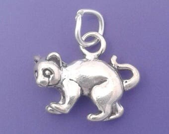 KITTEN or CAT Charm .925 Sterling Silver Small Pendant - lp4041