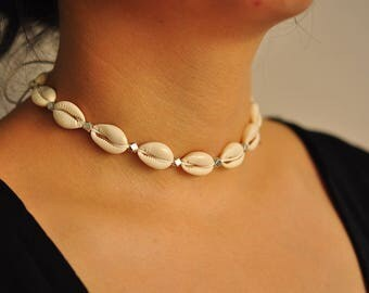 Cowrie Shell Necklace, Cowrie Shell Choker, Cowrie Necklace, Cowrie Choker, Cowrie Shell Jewelry, Shell Jewelry, Festival