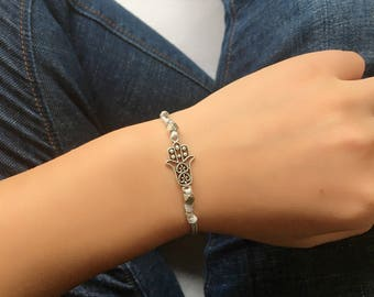 Hamsa bracelet, white wrapped bracelet, silver Hamsa charm, red string, Kabbalah bracelet, judaism, protection, gift for her, jewish jewelry