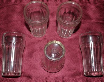 Set of 5 - Hazel Atlas Pressed Ware Fountain Tumblers - Cola Line