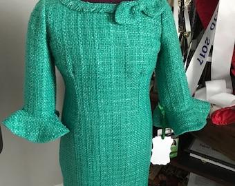 Girls Pageant Interview Dress Suit Green Sparkle Boucle Bell Sleeve Sheath Size 6/7 !MakeYourMarak!