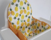 Antilop IKEA highchair cushion cover - cushion cover only - Pineapple and yellow polka fabric cushion cover - gender neutral - MADE to ORDER