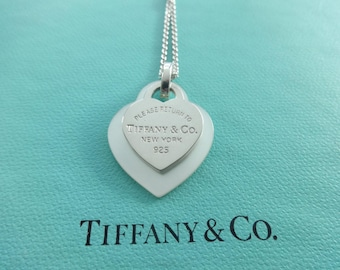 "Authentic Tiffany & Co. Please Return to Tiffany Sterling Silver and White Mother of Pearl Heart Pendants Necklace, 16"" chain."