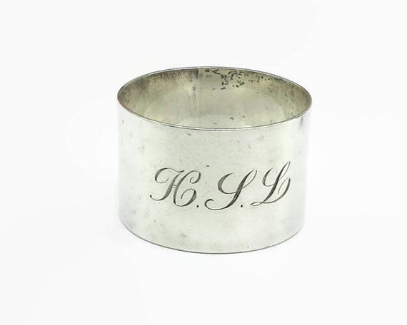 Antique sterling silver napkin ring, perfectly plain wide ring with monogrammed initials, HLL, hallmarked, 28 grams, circa 1920s