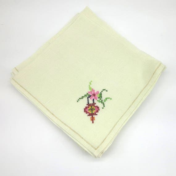 6 large vintage embroidered napkins, pale cream, cross stitched flowers in one corner, faggotted edge, mid 20th century, 16 inches square