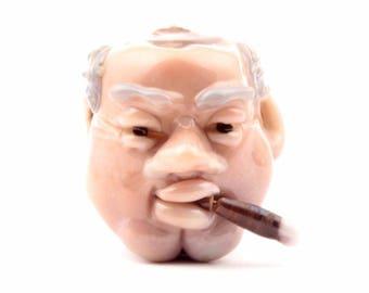 Antique vintage Czech rare historical marionette sculpture puppet Churchill glass head Brychta #13