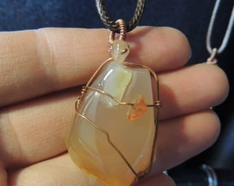 Translucent Agate, Natural Stone Pendant~Gifts for her~Agate Wire Wrapped Necklace