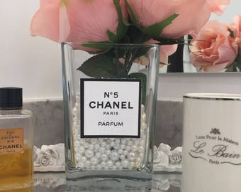 Ready Made Chanel Perfume Inspired Floral Arrangement Pink Roses in Pearl Filled Glass Vase