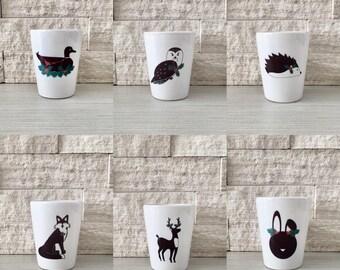 Holiday Animal Set, Shot Glass, Holiday Animals, Christmas Animals, Hostess Gift, Stocking StufferTiny Pot, Tiny Planter, Woodland