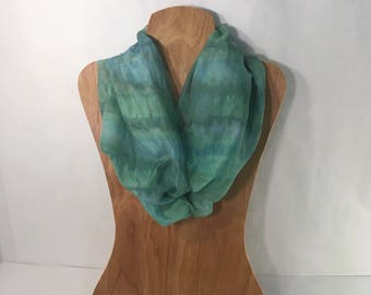 "Ice Dyed Silk and Cotton Gauze Shibori Scarf, Shawl or Wrap, Japanese Shibori Technique,  blue, green silk scarf, wrap Shawl,  24"" X 72"""