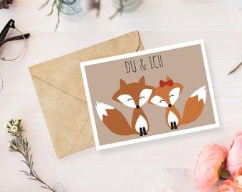 "Postcard ""Fox - Du & Ich"""