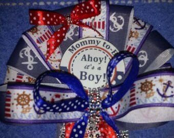 It's A Boy Baby Nautical Ocean Sailor Pin on Baby shower corsage and Daddy to be Tie